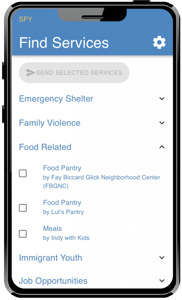 Click a category to show the available resource options.